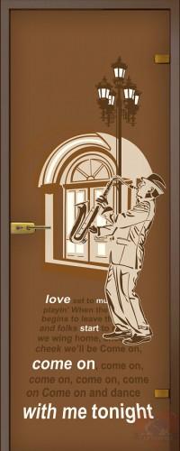 Дверь стеклянная Саксофонист - Сатинато Бронза