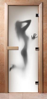 Стеклянная дверь для сауны - фотопечать А070