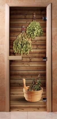Стеклянная дверь для сауны - фотопечать А004