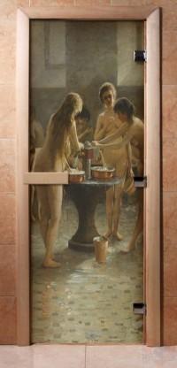 Стеклянная дверь для сауны - фотопечать А071