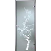 Дверь стеклянная межкомнатная Сакура - Сатинато Белое