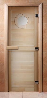 Стеклянная дверь для сауны - фотопечать А023