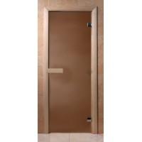 Стеклянная дверь для сауны Эконом - бронза матовая