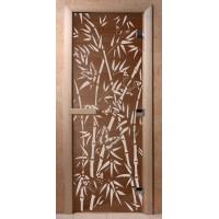 Стеклянная дверь для сауны Ольха - стекло бронза Бамбук