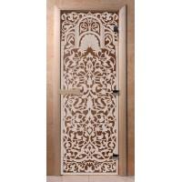 Стеклянная дверь для сауны Ольха - стекло бронза Флоренция