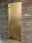 Стеклянная дверь Браво Аврора - Сатинато Белое, короб алюминий