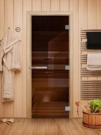 Стеклянная дверь для сауны Эталон - стекло бронза прозрачное