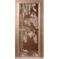 Стеклянная дверь для сауны Ольха - стекло бронза Береза