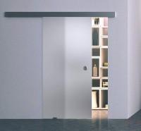 Одинарная раздвижная стеклянная дверь Лайт серое - комплект