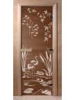 Стеклянная дверь для сауны Ольха - бронза Камышовый рай