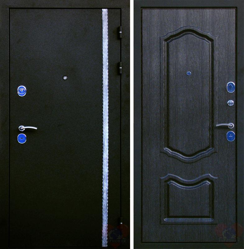 металлические двери серебро на черном