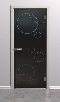 Дверь стеклянная межкомнатная Орбис - Стекло серое матовое