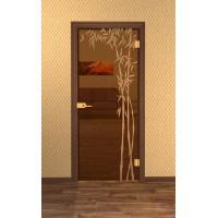 Дверь стеклянная межкомнатная Бамбук-02 - Стекло бронза прозрачное