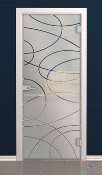 Дверь стеклянная межкомнатная Лента - Стекло матовое бесцветное