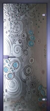 Дверь стеклянная межкомнатная Абстракта