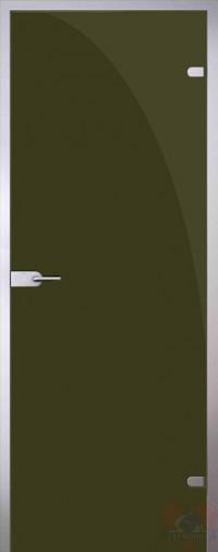 Дверь стеклянная межкомнатная триплекс Оливковый