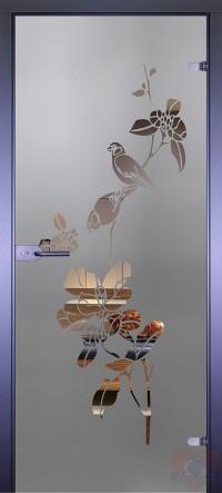 Дверь стеклянная межкомнатная Птицы на цветке