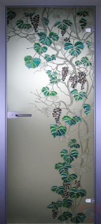 Дверь стеклянная межкомнатная Виноград-2
