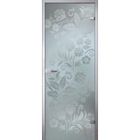 Дверь стеклянная межкомнатная Хохлома - Сатинато Белое