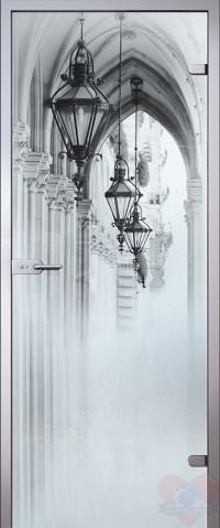 Дверь стеклянная межкомнатная Аркада - Сатинато Белое