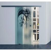 Одинарная раздвижная стеклянная дверь Аркада - комплект