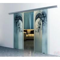 Двойная раздвижная стеклянная дверь Аркада-2