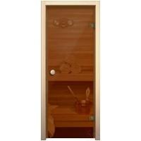 Стеклянный дверной блок для сауны 254 Тон Бронза
